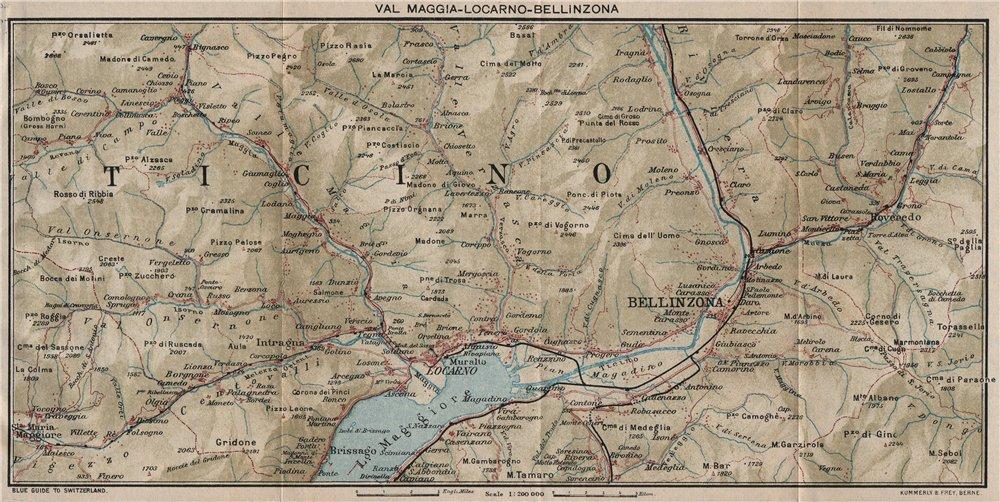 VAL MAGGIA-LOCARNO-BELLINZONA. Ticino Lake Maggiore Cardada. Vintage map 1930