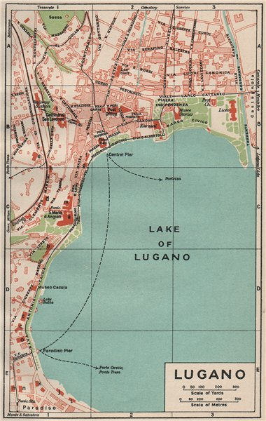 Associate Product LUGANO. Vintage town city map plan. Switzerland 1930 old vintage chart