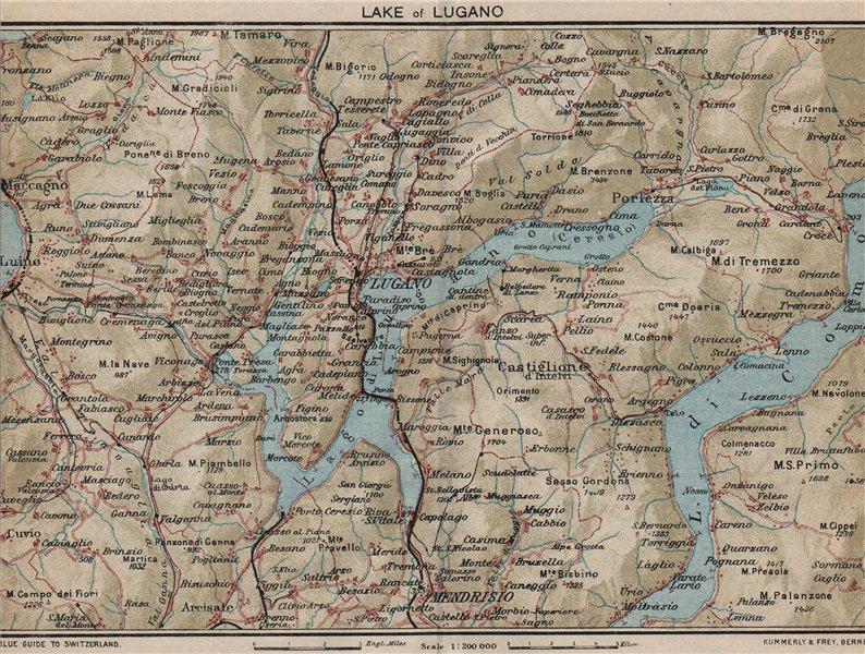 Associate Product LAKE OF LUGANO. Vintage map plan. Lago di Lugano. Switzerland Italy 1930