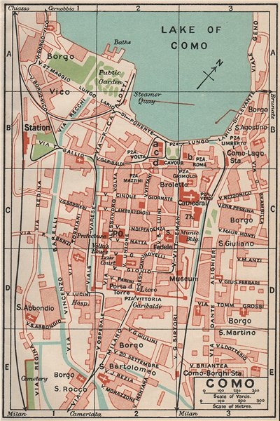 Associate Product COMO. Vintage town city map plan. Italy 1930 old vintage chart