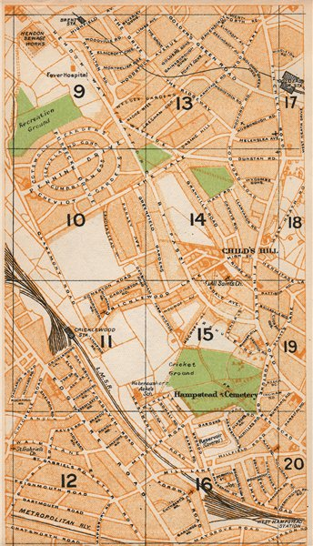 Associate Product LONDON NW. Cricklewood West Hampstead Golder's Green Child's Hill 1935 map