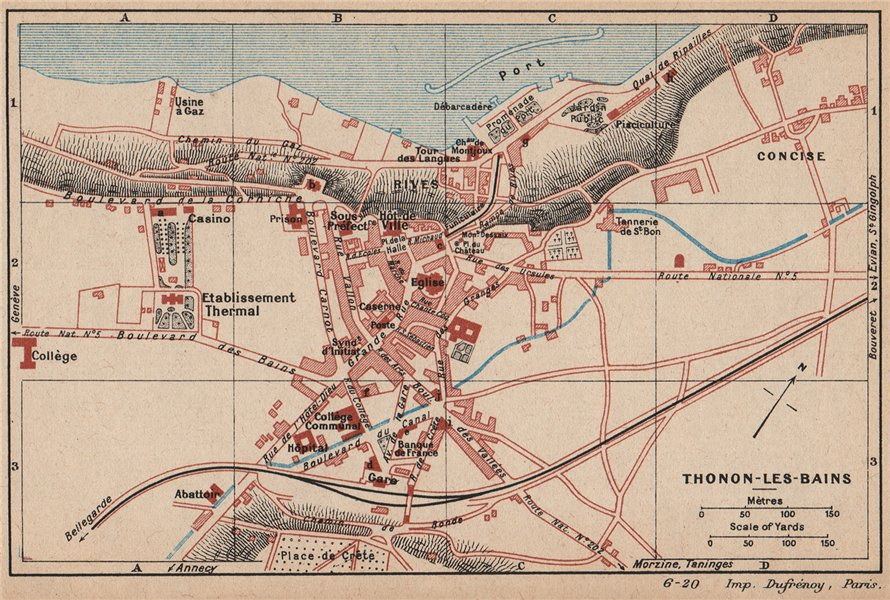 Associate Product THONON-LES-BAINS. Vintage town city map plan. Haute-Savoie 1920 old