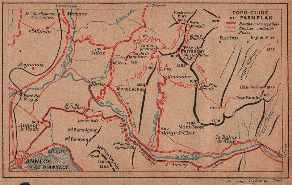 Associate Product PARMELAN. Annecy. Vintage topo-guide map plan. Haute-Savoie 1920 old