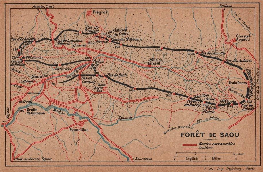 Associate Product FORÊT DE SAOU. Vintage topo-guide map plan. Drôme 1920 old vintage chart