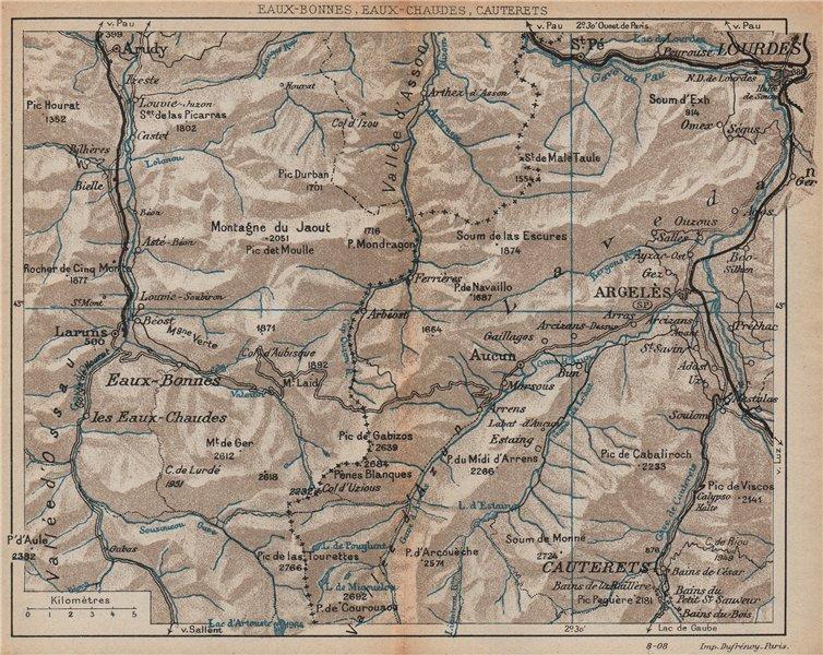 Associate Product PYRÉNÉES. Eaux-Bonnes/Chaudes Cauterets Lourdes Argeles. Vintage map plan.  1907