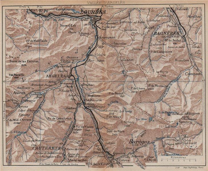 Associate Product VALLÉE D'ARGELÈS.Lourdes Cauterets Bagnères-de-Bigorre.Hautes-Pyrénées 1907 map
