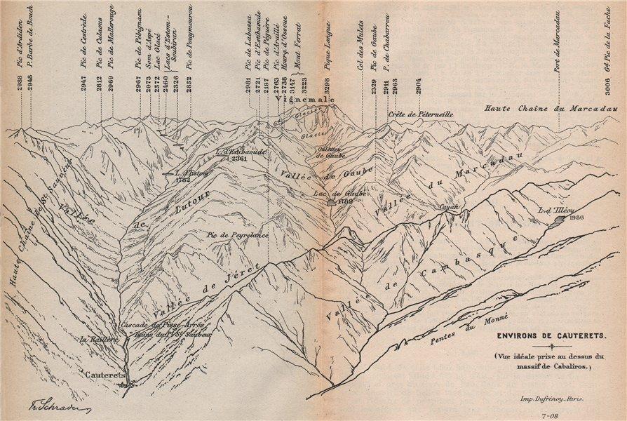Associate Product VINTAGE PYRENEES PANORAMA.Cabaliros Massif to Cauterets.Hautes-Pyrénées 1907 map