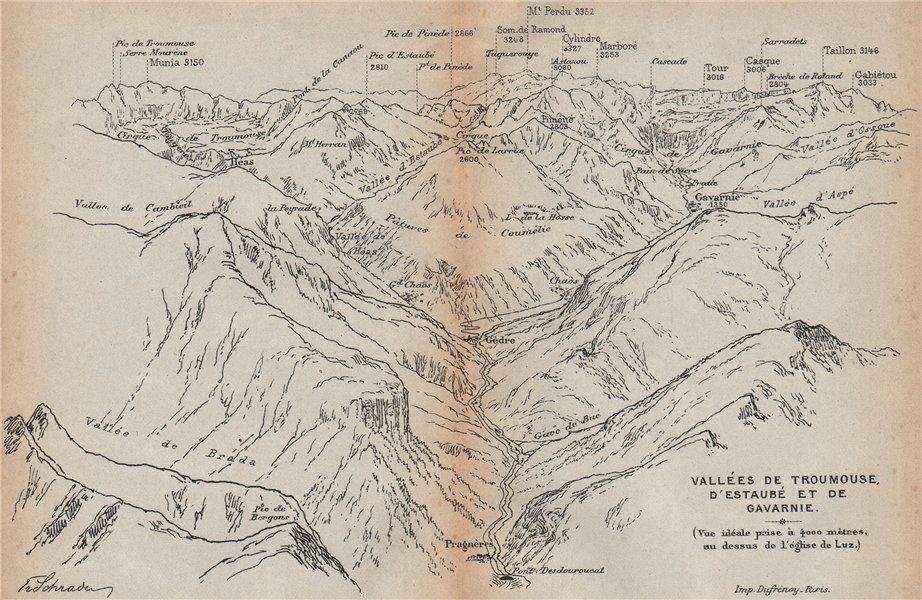 Associate Product VALLÉES TROUMOUSE ESTAUBÉ GAVARNIE. Gèdre Pragnères. Panorama. Pyrénées 1907 map