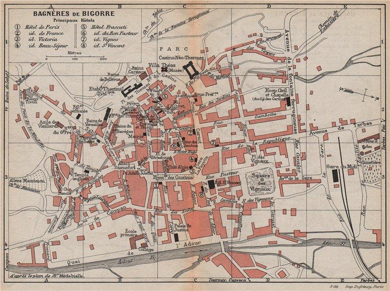 Associate Product BAGNÈRES-DE-BIGORRE. Vintage town city map plan. Hautes-Pyrénées. Bagnères 1907