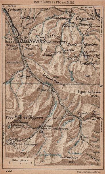Associate Product BAGNÈRES-DE-BIGORRE & PIC DU MIDI. Adour valley. Hautes-Pyrénées 1907 old map