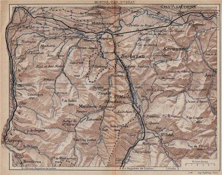 Associate Product MONTRÉJEAU ST. BÉAT BARBAZAN. Vintage map plan. Haute-Garonne/Pyrenees 1907
