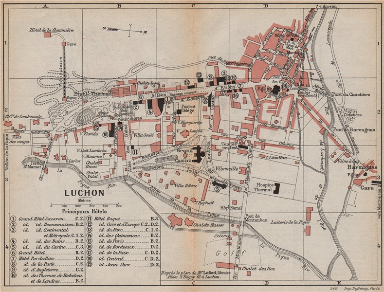 Associate Product LUCHON. Vintage town city plan. Haute-Garonne 1907 old antique map chart