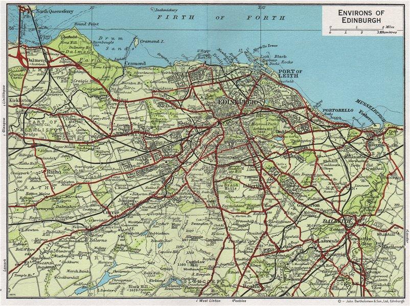 Associate Product ENVIRONS OF EDINBURGH. Vintage map plan. Leith Dalkeith Scotland 1967 old