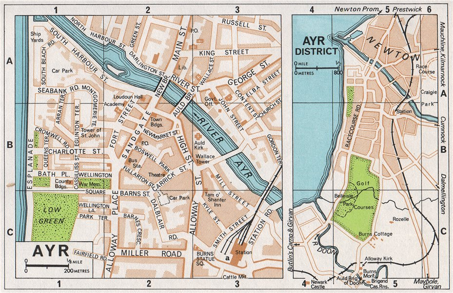 Associate Product AYR & DISTRICT. Vintage town city map plan. Scotland 1967 old vintage