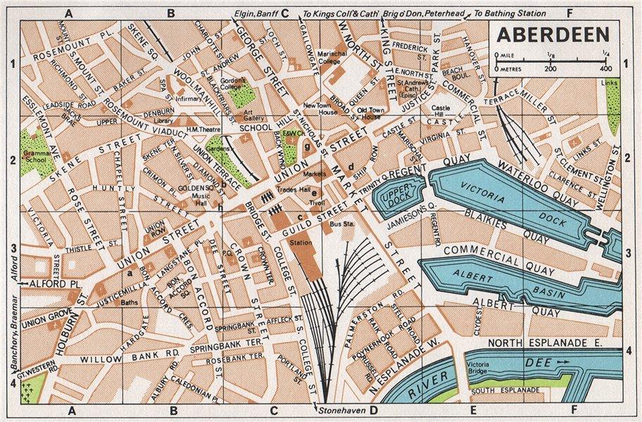 Associate Product ABERDEEN. Vintage town city map plan. Scotland 1967 old vintage chart