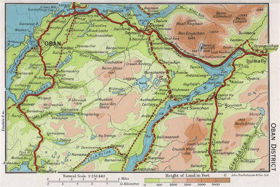 Associate Product OBAN DISTRICT. Vintage map plan. Argyll & Bute. Loch Awe. Scotland 1967