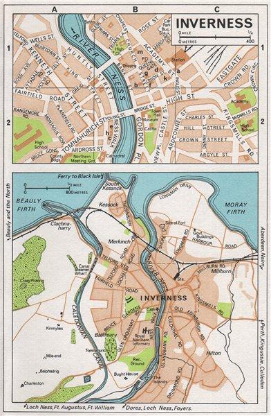 Associate Product INVERNESS. Vintage town city map plan. Scotland 1967 old vintage chart