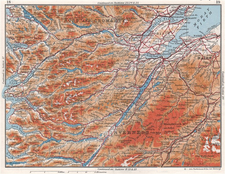 Associate Product SCOTTISH HIGHLANDS.Ross & Cromarty Inverness-shire Moray Firth.Scotland 1967 map