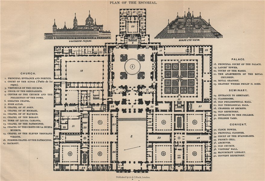 Associate Product ESCORIAL. Vintage map plan. Spain 1899 old antique chart