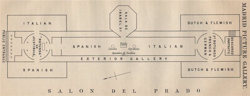 Associate Product MADRID PICTURE GALLERY. Vintage map plan. Spain 1899 old antique chart