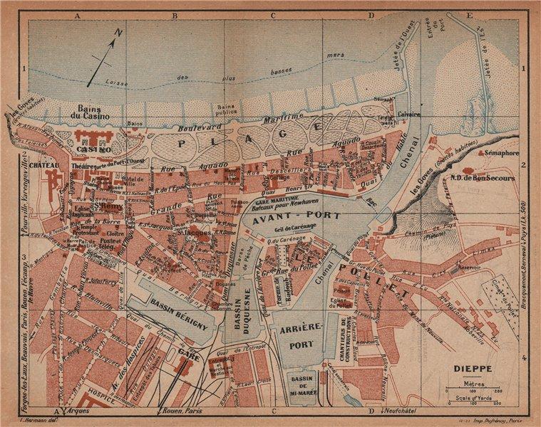 Associate Product DIEPPE. Vintage town city map plan. Seine-Maritime 1925 old vintage chart