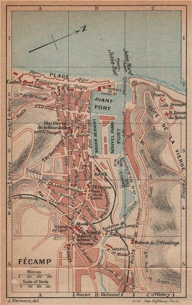 Associate Product FÉCAMP. Vintage town city map plan. Haute-Normandie. Fecamp 1925 old