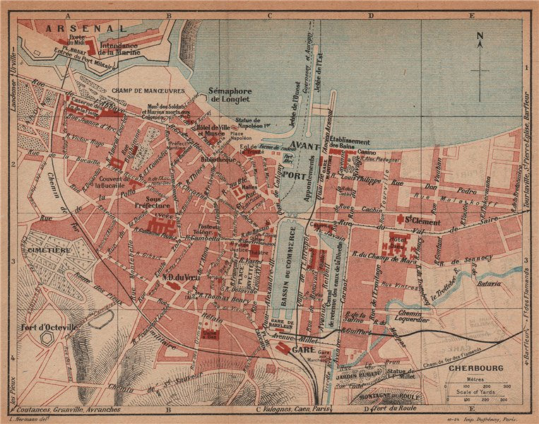 Associate Product CHERBOURG. Vintage town city map plan. Manche 1925 old vintage chart