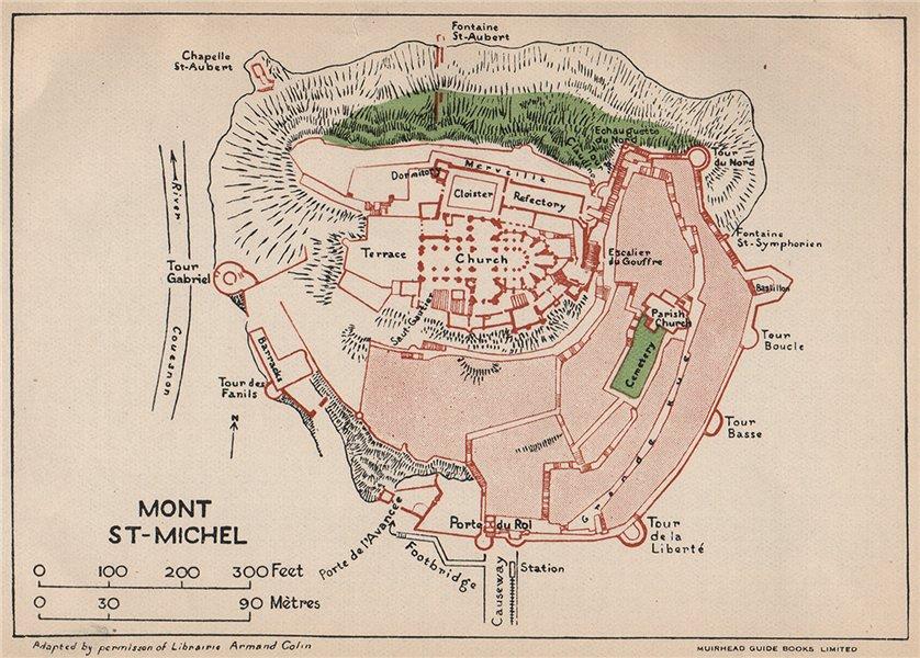 MONT ST-MICHEL. Vintage map plan. Manche 1925 old vintage chart