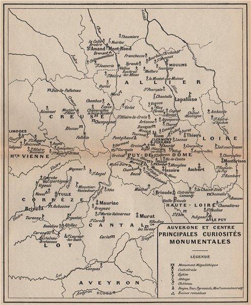 Associate Product AUVERGNE & CENTRE. Megaliths churches Roman ruins chateaux. Vintage map 1909