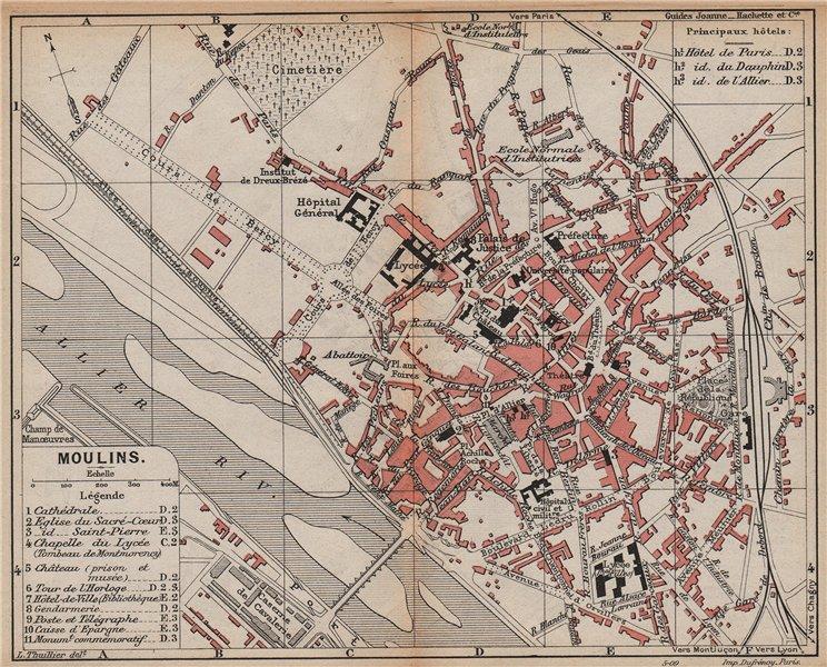 Associate Product MOULINS. Vintage town city map plan. France. Auvergne 1909 old antique