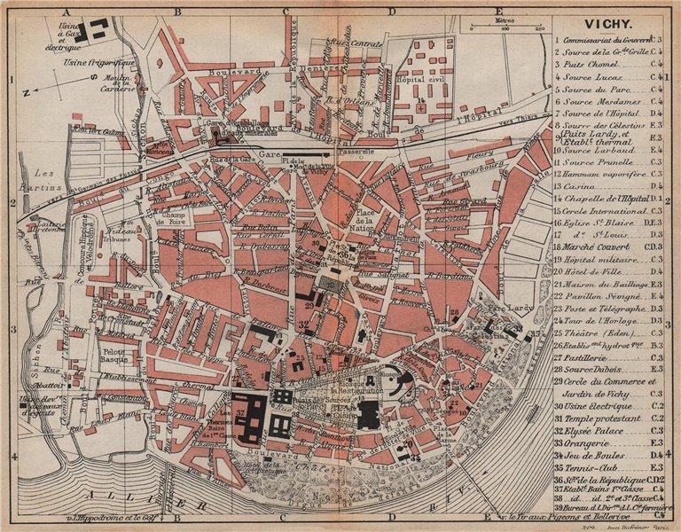 Associate Product VICHY. Vintage town city map plan. Allier. Auvergne 1909 old antique chart