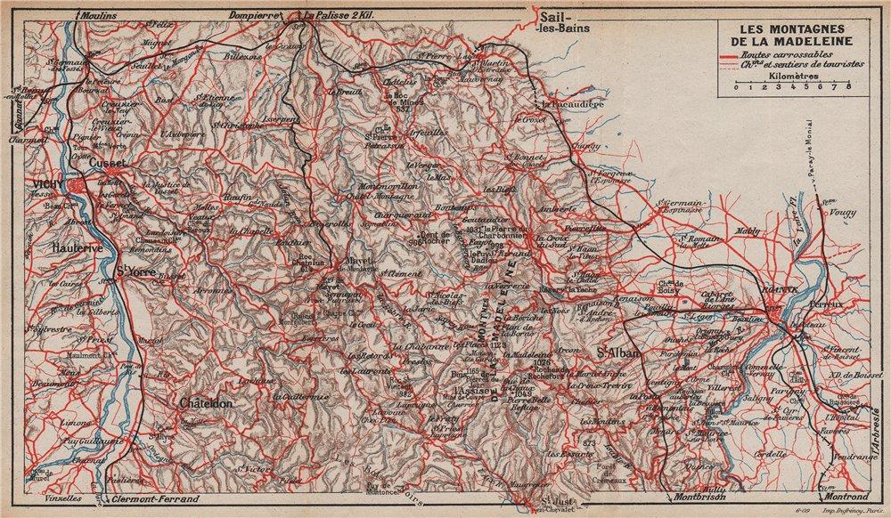 Associate Product LES MONTAGNES DE LA MADELEINE. Vichy Roanne. Allier Loire. Auvergne 1909 map