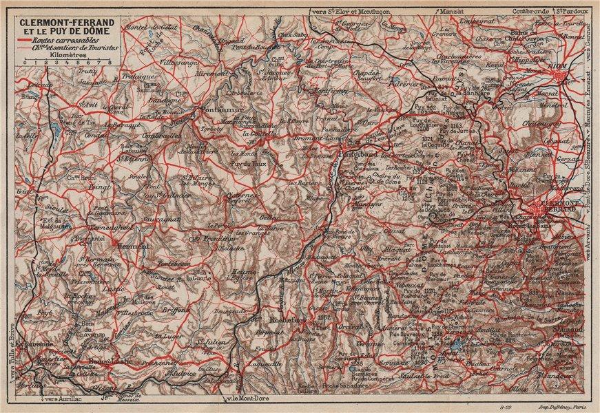 Associate Product CLERMONT-FERRAND & LE PUY. Chaine des Puys. Monts Dôme. Auvergne 1909 old map