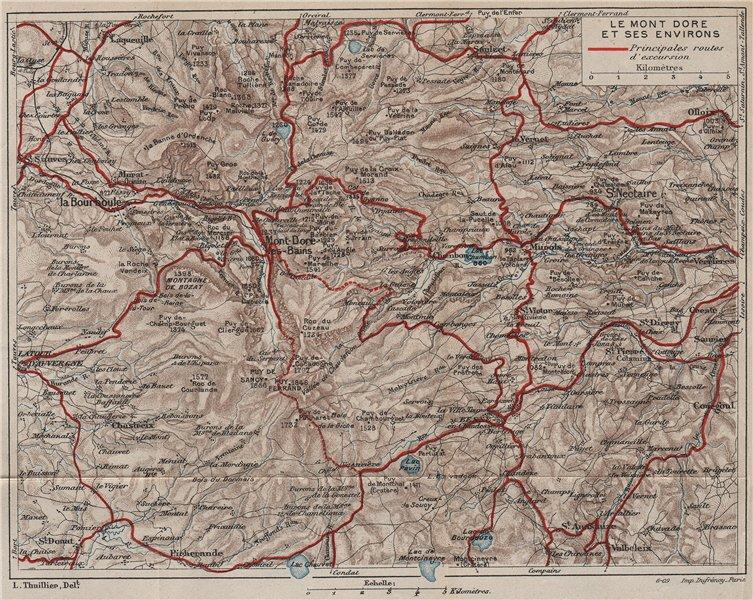 Associate Product LE MONT DORE & ENVIRONS. Vintage map plan. Puy-De-Dôme. Auvergne 1909 old