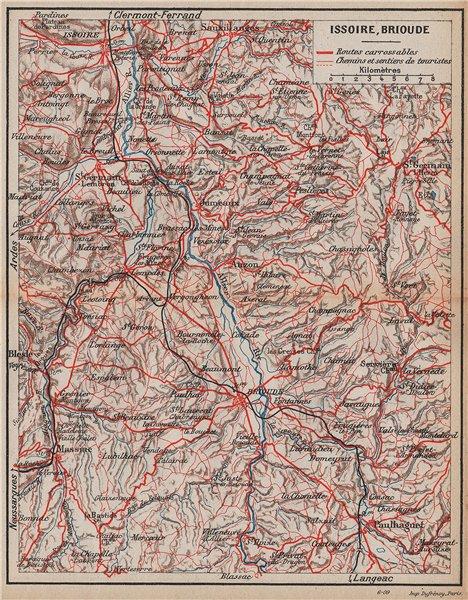 Associate Product ALLIER VALLEY VALLÉE. Issoire Brioude Paulhaguet. Puy-De-Dôme Auvergne 1909 map