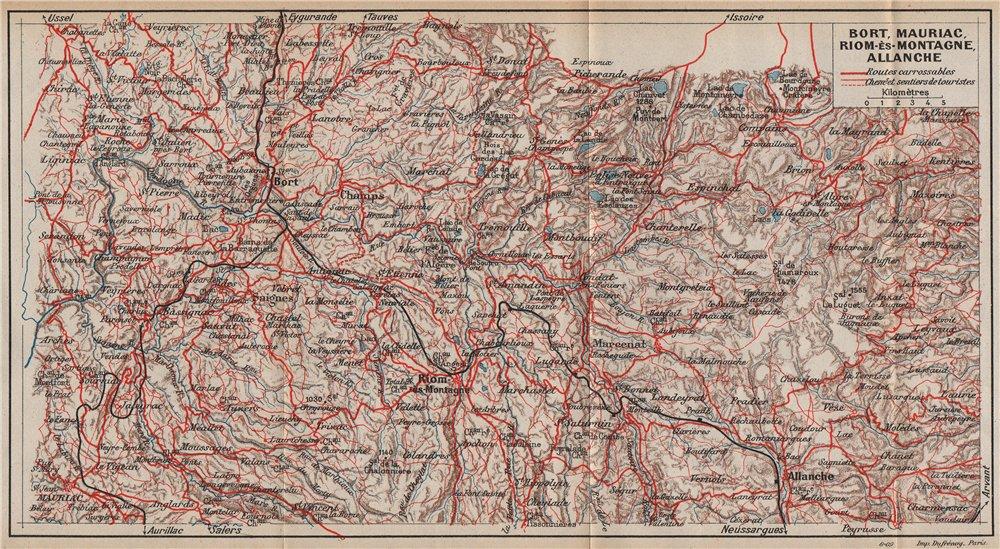 VOLCANS D'AUVERGNE. Bort Mauriac Riom-ès-Montagne Allanche. Cantal 1909 map