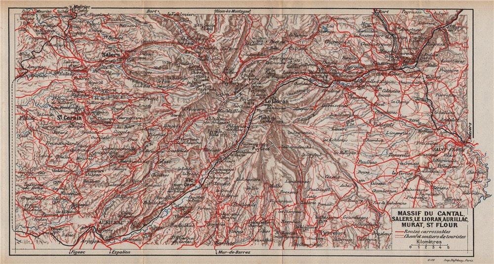 Associate Product MONTS DU CANTAL. Salers Le Loiran St-Flour Aurillac Murat. Auvergne 1909 map