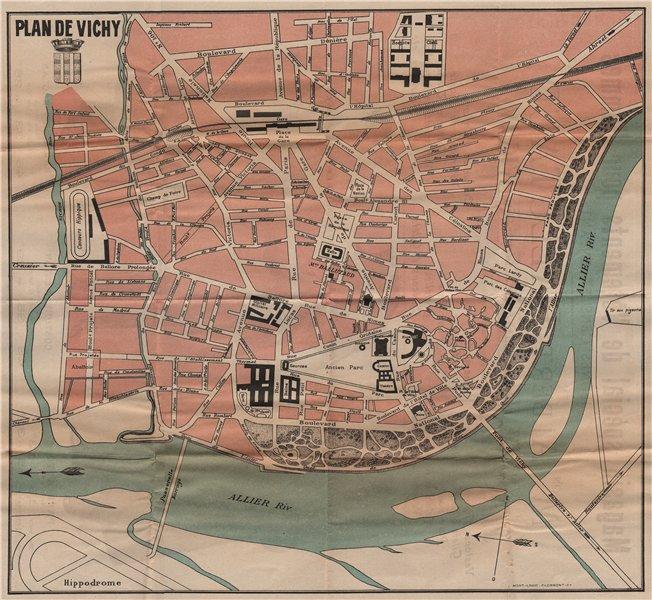 VICHY. Vintage town city map plan. Allier. Auvergne 1909 old antique chart
