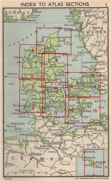 Associate Product DENMARK. Index map. Vintage plan 1955 old vintage chart