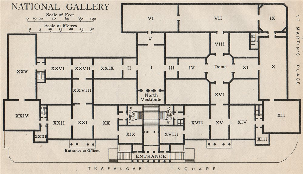 Associate Product NATIONAL GALLERY. Vintage map plan. London 1922 old vintage chart