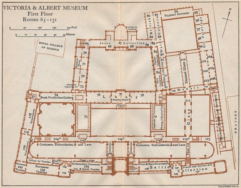 Associate Product VICTORIA & ALBERT MUSEUM. First floor vintage plan. South Kensington 1922 map
