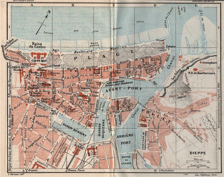 Associate Product DIEPPE. Vintage town city map plan. Seine-Maritime 1926 old vintage chart
