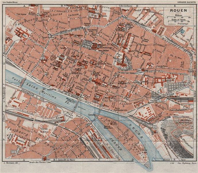Associate Product ROUEN. Vintage town city map plan. Seine-Maritime 1926 old vintage chart