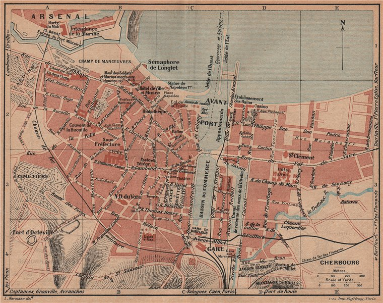 Associate Product CHERBOURG. Vintage town city map plan. Manche 1926 old vintage chart