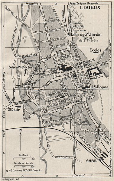 LISIEUX. Vintage town city map plan. Calvados 1926 old vintage chart