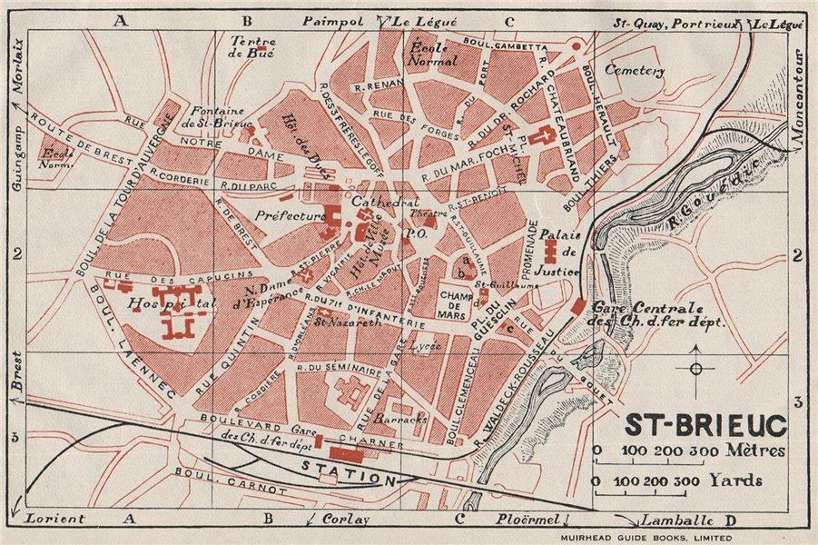 Associate Product ST-BRIEUC. Vintage town city map plan. Côtes-D'Armor 1926 old vintage