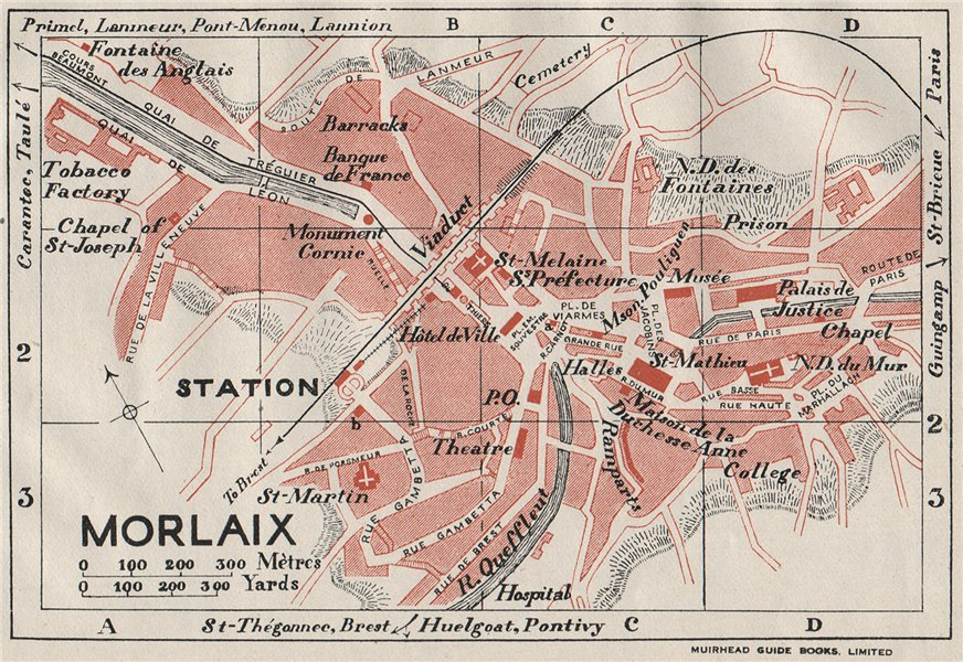 Associate Product MORLAIX. Vintage town city map plan. Brittany 1926 old vintage chart