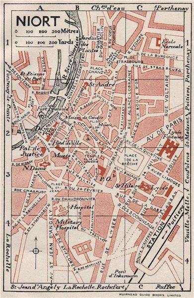 Associate Product NIORT. Vintage town city map plan. Deux-Sèvres 1926 old vintage chart