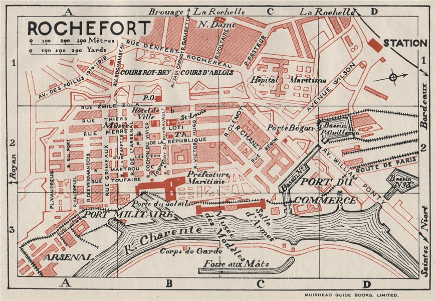 Associate Product ROCHEFORT. Vintage town city map plan. France 1926 old vintage chart