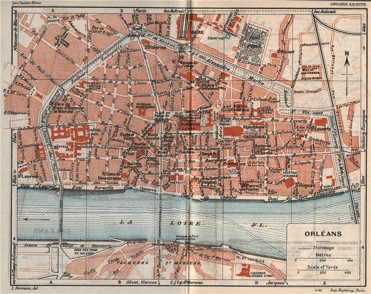 Associate Product ORLÉANS ORLEANS. Vintage town city map plan. Loiret 1926 old vintage chart